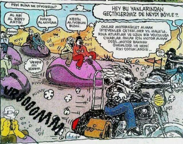 Motosiklet karikatürleri Onlar motosiklet almak isteyenler çetesi